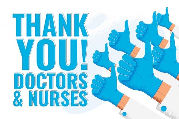 Dziękuję lekarze i pielęgniarki. uznanie dla pracowników służby zdrowia. ilustracja z lekarzami jak kciuk do góry ręce w niebieskich rękawiczkach medycznych.