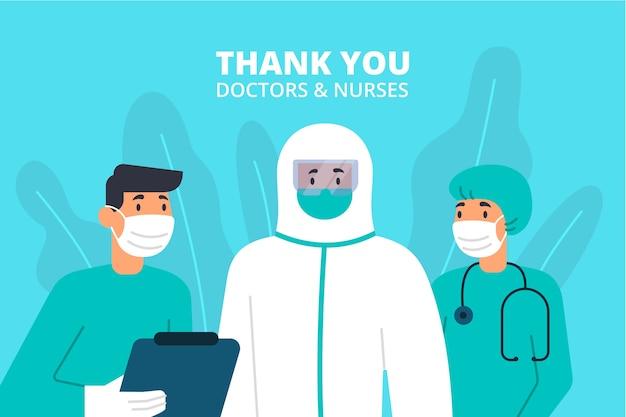 Dziękuję lekarzom i pielęgniarkom ilustracyjnym z napisem