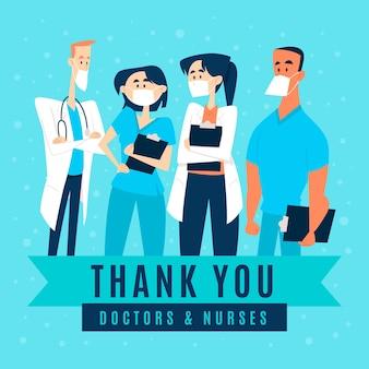 Dziękuję lekarzom i pielęgniarkom ilustrowany styl