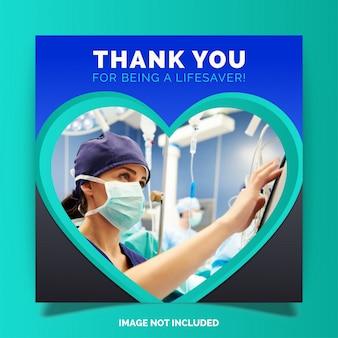 Dziękuję lekarzom i pielęgniarkom, instagram w mediach społecznościowych