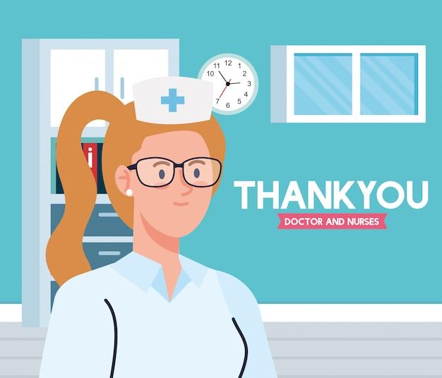 Dziękuję lekarzom i pielęgniarkom pracującym w szpitalach, pielęgniarce w gabinecie lekarskim walczącej z projektem ilustracji na koronawirusa covid 19