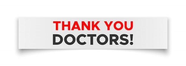 Dziękuję lekarzom w białej księdze. naklejka. szyld.
