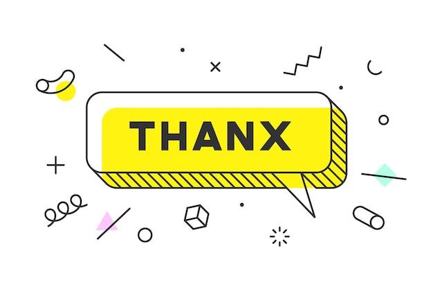 Dziękuję lub dziękuję. baner, dymek, koncepcja plakatu