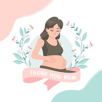 Dziękuję mamie ilustracja z kobietą w ciąży