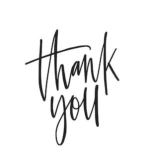Dziękuję napis wektor pióro atramentu. wdzięczność, wyrażenie wdzięczności, grzeczne słowa na białym tle. pocztówka na święto dziękczynienia, kartka z życzeniami ozdobna odręczna kaligrafia.
