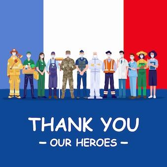 Dziękuję naszym bohaterom. różne zawody ludzie noszący maski ochronne stojący z flagą francji.