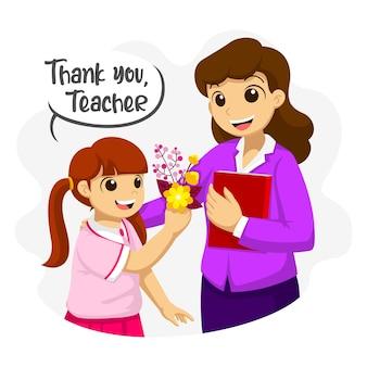 Dziękuję nauczycielu. uczennica daje nauczycielowi kwiaty. płaskie ilustracja dnia nauczyciela.