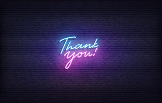 Dziękuję neonowy znak. świecące neonowe napisy dziękuję szablon.