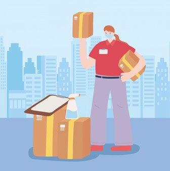 Dziękuję niezbędnym pracownikom, dostawce z pudełkami i schowkiem, w masce, ilustracji choroby wieńcowej