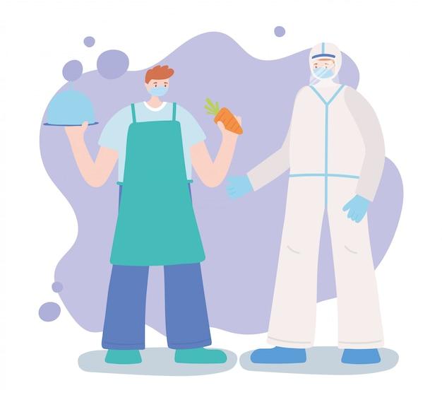 Dziękuję niezbędnym pracownikom, lekarzowi i rolnikowi o profesjonalnym charakterze, noszących maski na twarz, ilustracji choroby koronawirusowej