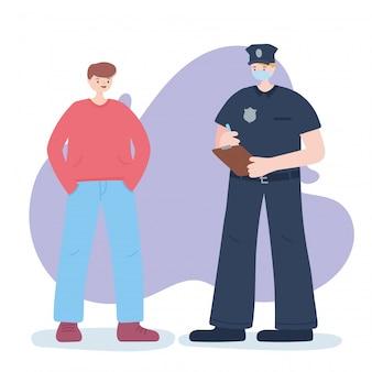 Dziękuję niezbędnym pracownikom, policjantowi i chłopcu, noszącym maskę, ilustrację choroby koronawirusa