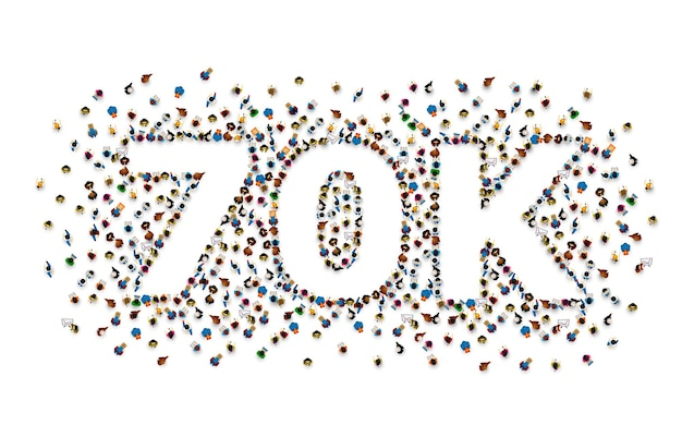 Dziękuję obserwującym narodom, 70k internetowej grupie społecznościowej, szczęśliwemu banerowi świętuj,