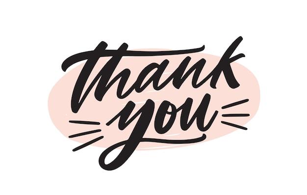 Dziękuję odręczny napis czarnym tuszem. frazę pióra pędzla wyrażenie wdzięczności. słowa wdzięczności na białym tle. kartka okolicznościowa, pocztówka ozdobna kaligrafia.