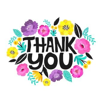 Dziękuję odręczny napis. ręcznie rysowane napis. dziękuję ci kaligrafia. dziękuję karty. kwiatowa ramka.