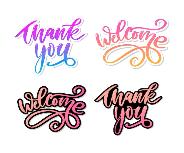 Dziękuję odręczny napis. ręcznie rysowane napis. dziękuję ci kaligrafia. dziękuję karty