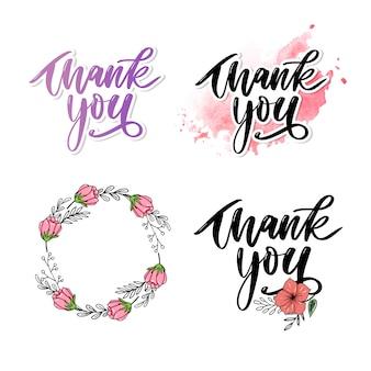 Dziękuję odręczny napis. ręcznie rysowane napis. dziękuję ci kaligrafia. zestaw kart dziękuję