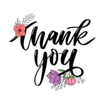 Dziękuję odręczny napis. ręcznie rysowane napis dziękuję kaligrafii. dziękuję karty ilustracja. hasło reklamowe