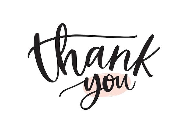 Dziękuję odręczny napis wektor pióro atramentu. słowa wdzięczności, wyrażenie wyrażenia wdzięczności na białym tle. pocztówka na święto dziękczynienia, ozdobna kaligrafia odręczna z życzeniami.