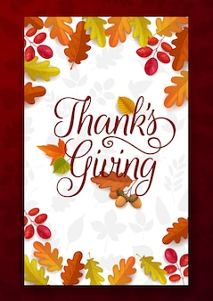 Dziękuję pozdrawiając jesienią opadłe liście klonu, dębu, brzozy lub jarzębiny z żołędziami. szczęśliwa ramka święto dziękczynienia, plakat gratulacyjny z wakacji jesiennych z roślinami liściowymi