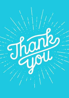 Dziękuję, ręka napis dziękuję z grafiką sunburst vintage kreda na tle czarnej tablicy.