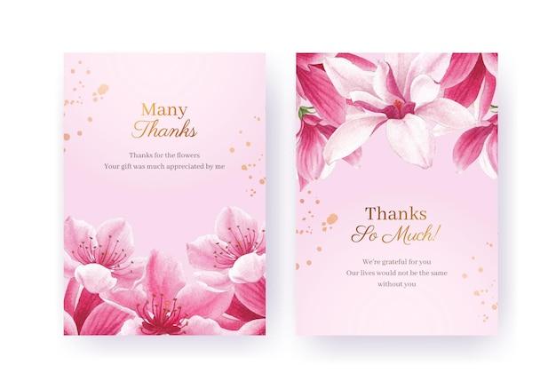 Dziękuję szablon karty z akwarela ilustracja kwiat ptak koncepcja projektowania