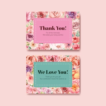 Dziękuję szablon karty z kwitnącą miłością projekt akwarela ilustracja
