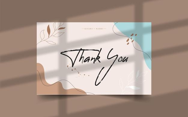 Dziękuję szablon karty z plamami akwareli