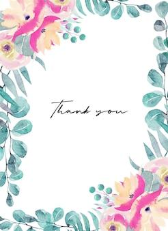 Dziękuję szablon karty z pozdrowieniami z akwarela różowe kwiaty, polne kwiaty, zielone liście, gałęzie i eukaliptus