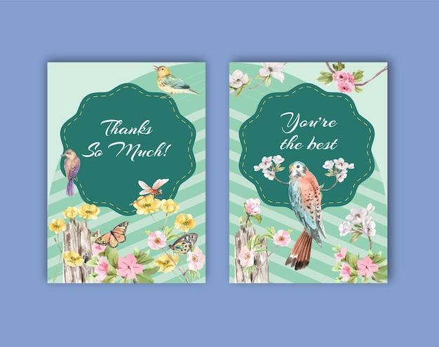 Dziękuję szablon karty z ptakami i koncepcją wiosny