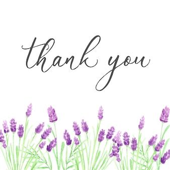 Dziękuję szablon karty z ręcznie rysowane fioletowe kwiaty akwarela