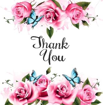 Dziękuję tło z pięknymi różami i motylami. wektor.