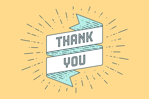 Dziękuję. vintage wstążka banner i rysunek w stylu grawerowania z tekstem dziękuję. ręcznie rysowane na święto dziękczynienia. typografia na kartkę z życzeniami, baner i plakat.