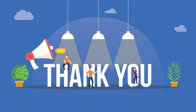 Dziękuję Wielkie Słowo Z Megafonem Premium Wektorów