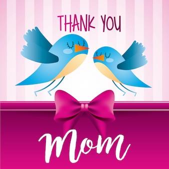 Dziękuję, że mama ptaki różowe paski tle