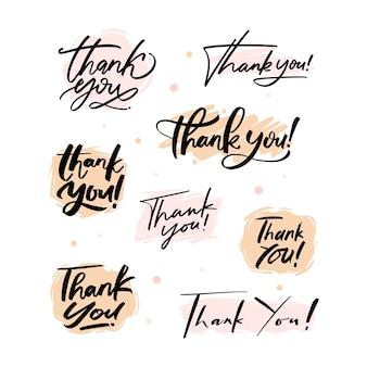 Dziękuję Zestaw Pisma Ręcznego Premium Wektorów