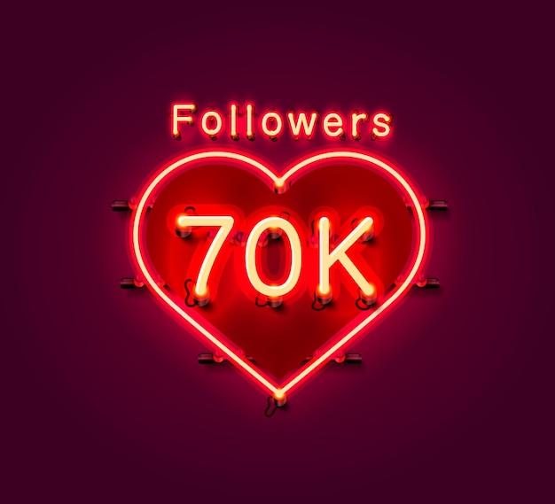 Dziękuję zwolennikom ludów, 70-tysięcznej grupy społecznościowej online, neonu