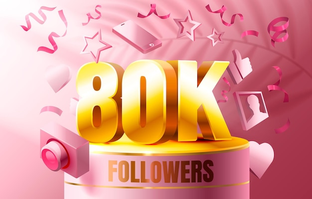 Dziękuję Zwolennikom Narodów K Online Grupa Społeczna Szczęśliwy Baner świętują Wektor Premium Wektorów