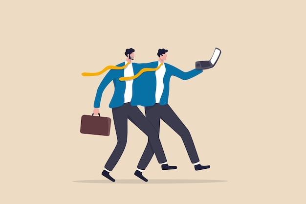 Dzielenie pracy w elastycznej pracy, 2 lub więcej pracowników dzieli odpowiedzialność za pracę na tym samym stanowisku w celu uzyskania koncepcji najlepszych wyników, dwóch biznesmenów pracuje razem z tą samą komputerową metaforą dzielenia pracy.