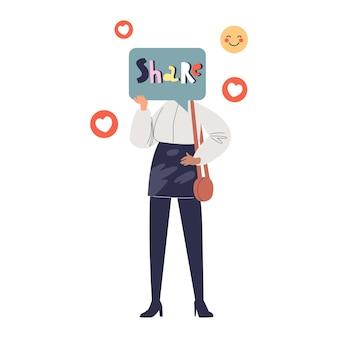 Dzielenie się emocjami i zaangażowaniem w mediach społecznościowych dla milenijnej dziewczyny. osoby z pokolenia y publikujące w aplikacji do komunikacji sieciowej. ilustracja kreskówka płaski wektor