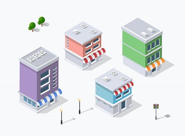 Dzielnica miasta ulicy domy izometryczne