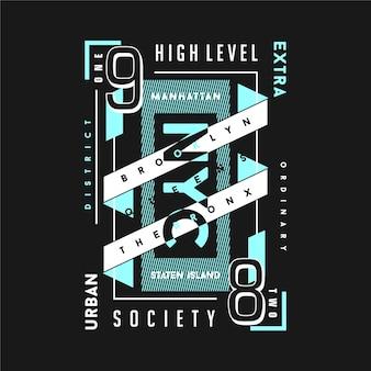 Dzielnica miejska, niezwykła typografia graficzna ramki tekstowej na koszulkę
