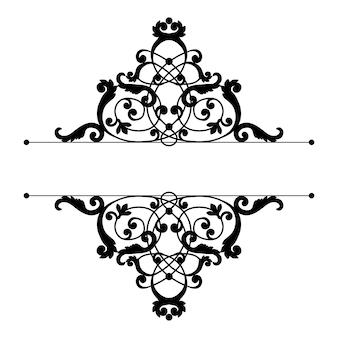Dzielnik lub rama w kaligraficznym stylu retro