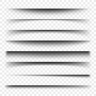 Dzielnik strony z przezroczystymi cieniami izolowanymi. zestaw wektorów separacji stron. przezroczysty cień realistyczna ilustracja