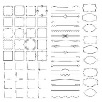 Dzielniki kaligraficzne, ramki o różnych kształtach.