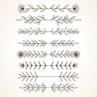 Dzielniki kwiatowy kolekcji z ręcznie rysowanym stylem elementy kwiatowe