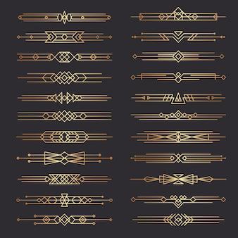 Dzielniki w stylu art deco. linie kształty dekoracyjne obramowania minimalistyczny wirowy wystrój kolekcja szablonów z lat 20. xx wieku. ilustracja ozdobny obramowanie deco, przewiń klasyczną ramkę na stronę