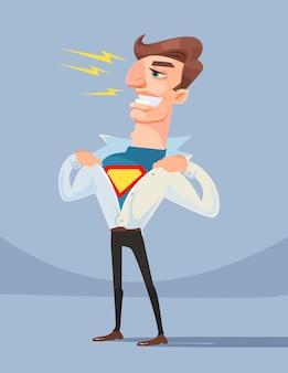 Dzielny super bohater pracownik biurowy biznesmen charakter ilustracja kreskówka płaska