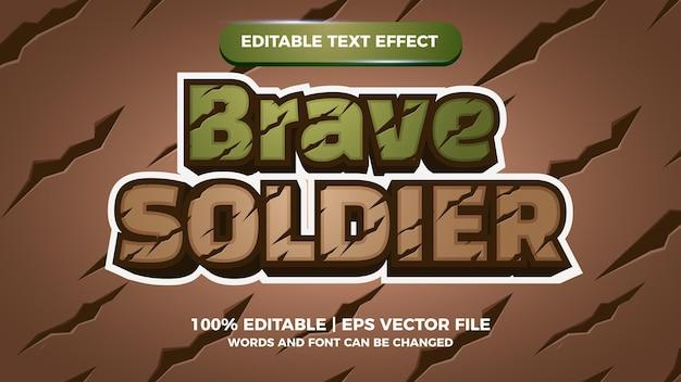 Dzielny żołnierz tytuł gry komiksowej z edytowalnym efektem tekstowym