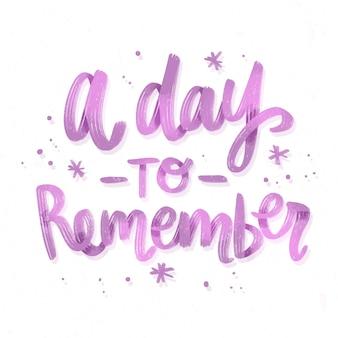 Dzień, aby pamiętać napis na weselu