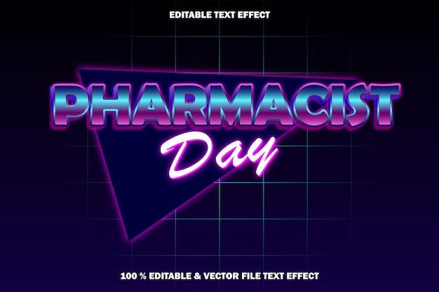 Dzień aptekarza edytowalny efekt tekstowy w stylu retro